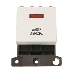 Click Minigrid MD023PWWD 20A DP Twin Width Waste Disposal Switch Module with Neon Polar White