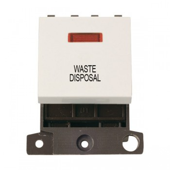 Click Minigrid MD023PWWD 20A DP Twin Width Waste Disposal Switch Module with Neon Polar White