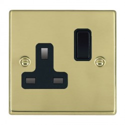 Hamilton Hartland Polished Brass 1 Gang 13A Switched Socket - Double Pole with Black Insert