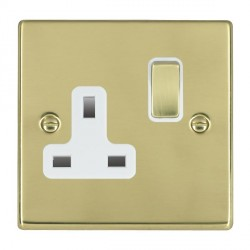 Hamilton Hartland Polished Brass 1 Gang 13A Switched Socket - Double Pole with White Insert