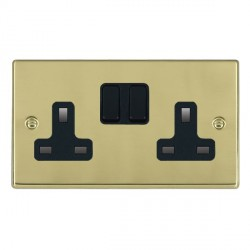 Hamilton Hartland Polished Brass 2 Gang 13A Switched Socket - Double Pole with Black Insert