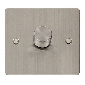 Click Define Stainless Steel Flat Plate 1 Gang 2 Way 400W Dimmer Switch