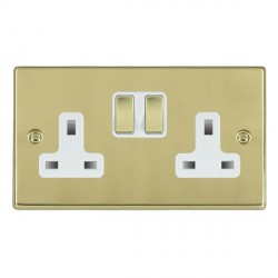 Hamilton Hartland Polished Brass 2 Gang 13A Switched Socket - Double Pole with White Insert