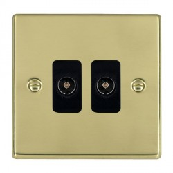 Hamilton Hartland Polished Brass 2 Gang Non Isolated Television 2in/2out with Black Insert