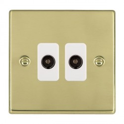 Hamilton Hartland Polished Brass 2 Gang Non Isolated Television 2in/2out with White Insert