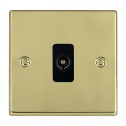 Hamilton Hartland Polished Brass 1 Gang Non Isolated Television 1in/1out with Black Insert