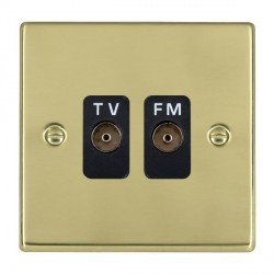 Hamilton Hartland Polished Brass 2 Gang Isolated Television/FM 1in/2out with Black Insert