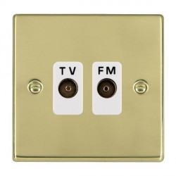 Hamilton Hartland Polished Brass 2 Gang Isolated Television/FM 1in/2out with White Insert