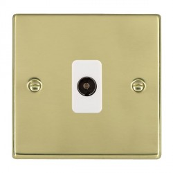 Hamilton Hartland Polished Brass 1 Gang Non Isolated Television 1in/1out with White Insert