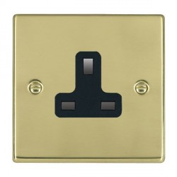 Hamilton Hartland Polished Brass 1 Gang 13A Unswitched Socket with Black Insert