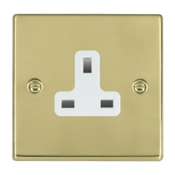 Hamilton Hartland Polished Brass 1 Gang 13A Unswitched Socket with White Insert