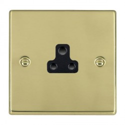 Hamilton Hartland Polished Brass 1 Gang 2A Unswitched Socket with Black Insert
