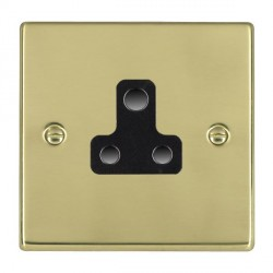 Hamilton Hartland Polished Brass 1 Gang 5A Unswitched Socket with Black Insert