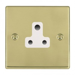 Hamilton Hartland Polished Brass 1 Gang 5A Unswitched Socket with White Insert
