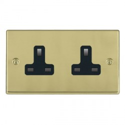 Hamilton Hartland Polished Brass 2 Gang 13A Unswitched Socket with Black Insert