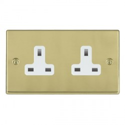 Hamilton Hartland Polished Brass 2 Gang 13A Unswitched Socket. Standard Insert with White Insert