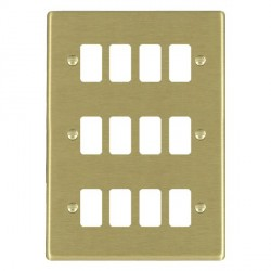 Hamilton Hartland Grid Satin Brass 12 Gang Grid Fix Aperture Plate with Grid