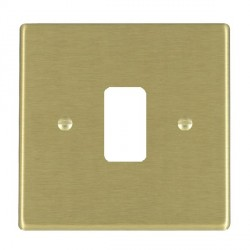 Hamilton Hartland Grid Satin Brass 1 Gang Grid Fix Aperture Plate with Grid