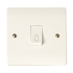 Click Curva 10A 1 Gang 1 Way Retractive Bell Switch