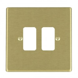 Hamilton Hartland Grid Satin Brass 2 Gang Grid Fix Aperture Plate with Grid