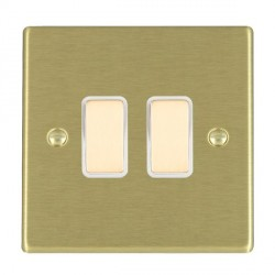 Hamilton Hartland Satin Brass 2 Gang Multi way with White Insert