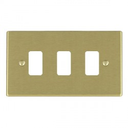 Hamilton Hartland Grid Satin Brass 3 Gang Grid Fix Aperture Plate with Grid