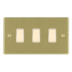 Hamilton Hartland Satin Brass 3 Gang Multi way with White Insert