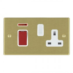 Hamilton Hartland Satin Brass 1 Gang Double Pole 45A Red Rocker + 13A Switched Socket with White Insert
