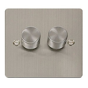 Click Define Stainless Steel Flat Plate 2 Gang 2 Way 400W Dimmer Switch