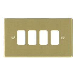 Hamilton Hartland Grid Satin Brass 4 Gang Grid Fix Aperture Plate with Grid