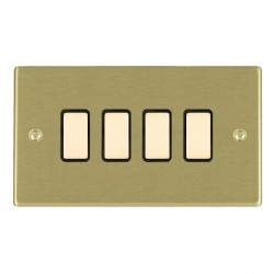 Hamilton Hartland Satin Brass 4 Gang Multi way Touch Slave Trailing Edge with Black Insert