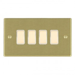 Hamilton Hartland Satin Brass 4 Gang Multi way Touch Slave Trailing Edge with White Insert
