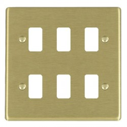 Hamilton Hartland Grid Satin Brass 6 Gang Grid Fix Aperture Plate with Grid