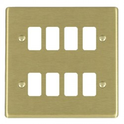 Hamilton Hartland Grid Satin Brass 8 Gang Grid Fix Aperture Plate with Grid