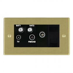 Hamilton Hartland Satin Brass TV+FM+SAT+SAT+TV+TCS (DAB Compatible) with Black Insert