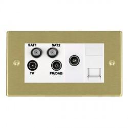 Hamilton Hartland Satin Brass TV+FM+SAT+SAT+TV+TCS (DAB Compatible) with White Insert