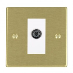 Hamilton Hartland Satin Brass 1 Gang Digital Satellite with White Insert