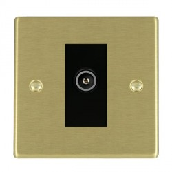 Hamilton Hartland Satin Brass 1 Gang TV (Female) with Black Insert