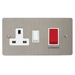 Click Define Stainless Steel Flat Plate 45A Cooker Switch and 13A Socket with White Inserts