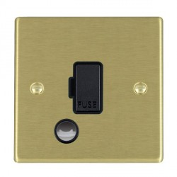 Hamilton Hartland Satin Brass 1 Gang 13A Fuse + Cable Outlet with Black Insert