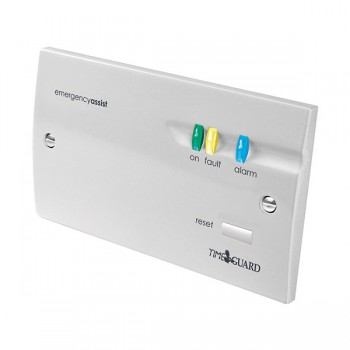Timeguard EACP1PR 2 Gang Single Zone Emergency Assist Panel Battery Back-up White Finish