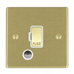 Hamilton Hartland Satin Brass 1 Gang 13A Fuse + Cable Outlet with White Insert
