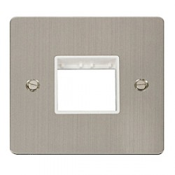 Click Define Stainless Steel Flat Plate 1 Gang Plate Twin Switch Aperture with White Insert