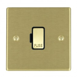Hamilton Hartland Satin Brass 1 Gang 13A Fuse Only with Black Insert