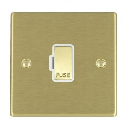 Hamilton Hartland Satin Brass 1 Gang 13A Fuse Only with White Insert