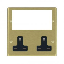 Hamilton Hartland Media Plates Satin Brass Media Plate containing 2 Gang 13A Unswitched Socket + EURO4 aperture with Black Insert