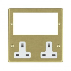 Hamilton Hartland Media Plates Satin Brass Media Plate containing 2 Gang 13A Unswitched Socket + EURO4 aperture with White Insert