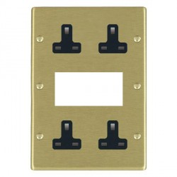Hamilton Hartland Satin Brass Media Plate containing 2 Gang 13A Unswitched Socket, 2 Gang 13A Unswitched Socket, EURO4 aperture with Black Insert