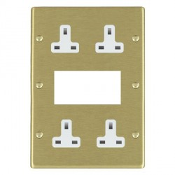 Hamilton Hartland Satin Brass Media Plate containing 2 Gang 13A Unswitched Socket, 2 Gang 13A Unswitched Socket, EURO4 aperture with White Insert