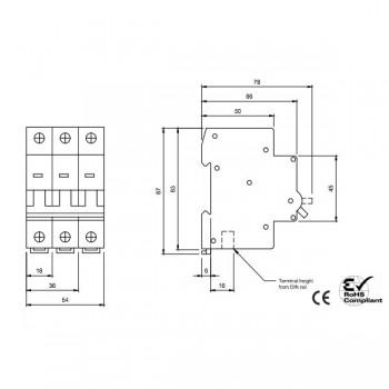 Europa Euc3p63c 63amp Type C 10ka Triple Pole Mcb